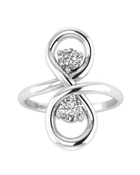 Hidden 14K 0.30 carat Real Diamond White Gold Promise Ring - Infinity Knot