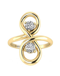 Hidden 14K 0.30 carat Real Diamond Yellow Gold Promise Ring - Infinity Knot