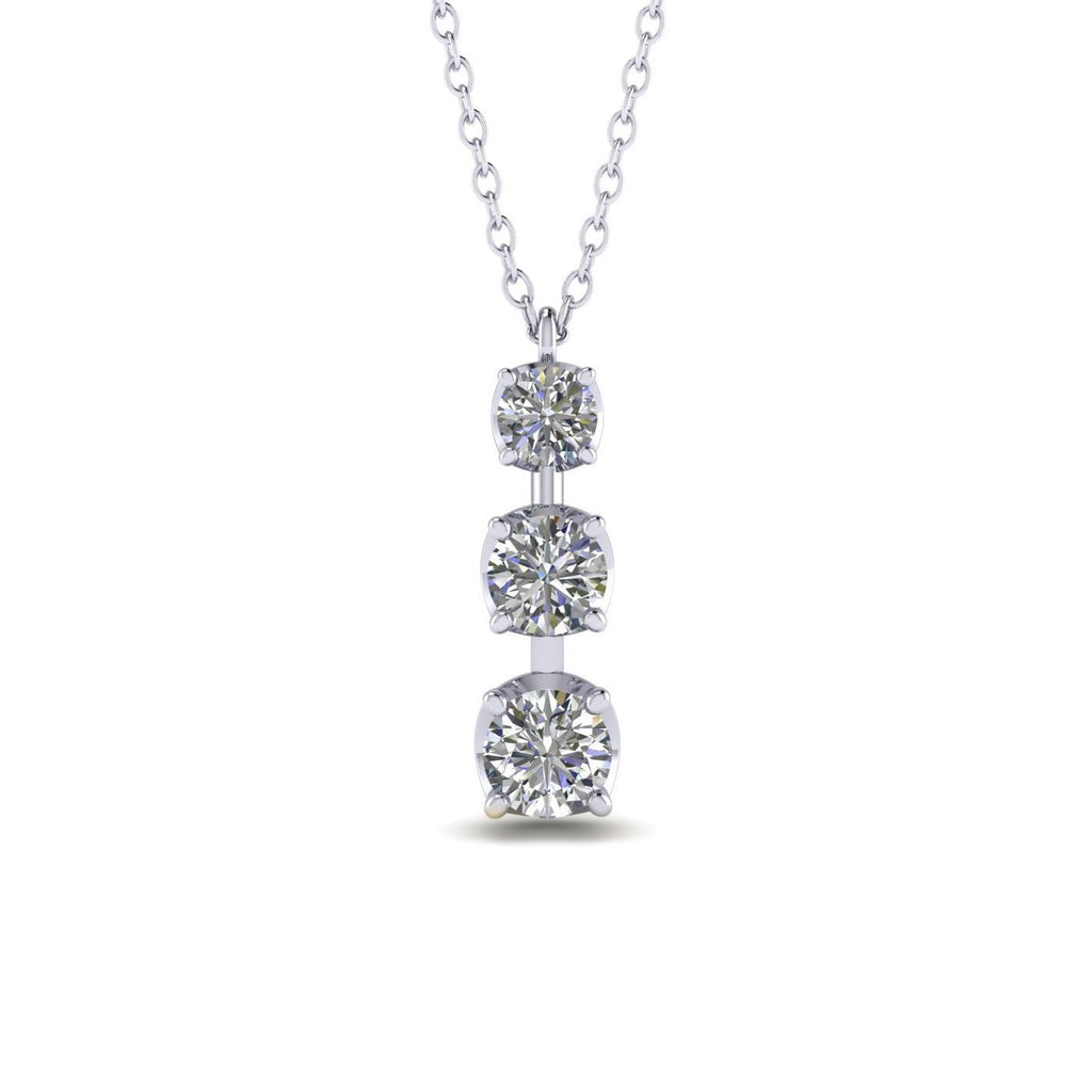 PEN-14 14k 3-Stone Diamond White Gold Journey Pendant Necklace - 0.80 carat  D-SI1 Natural