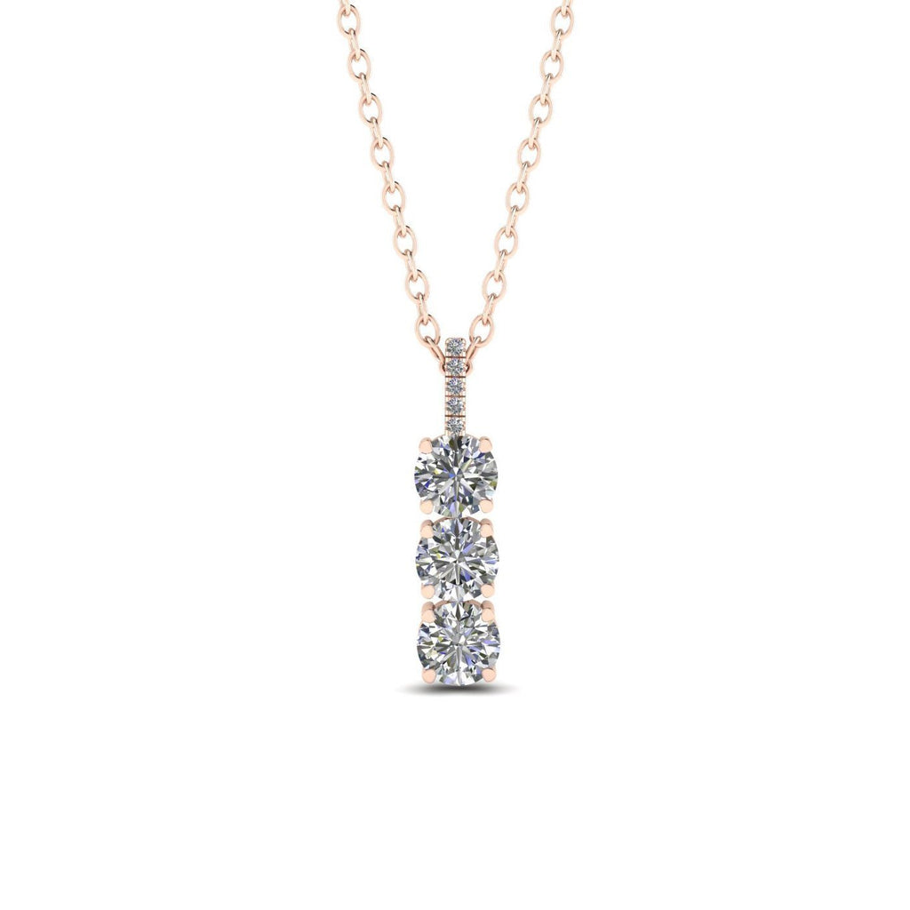 14k 3-Stone Trilogy Diamond Rose Gold Pendant Necklace - 0.45 carat  D-SI1 Natural - Custom Made