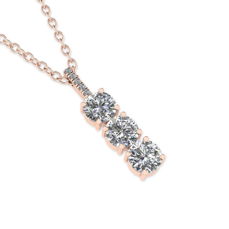 PEN-14 14k 3-Stone Trilogy Diamond Rose Gold Pendant Necklace - 0.45 carat  D-SI1 Natural