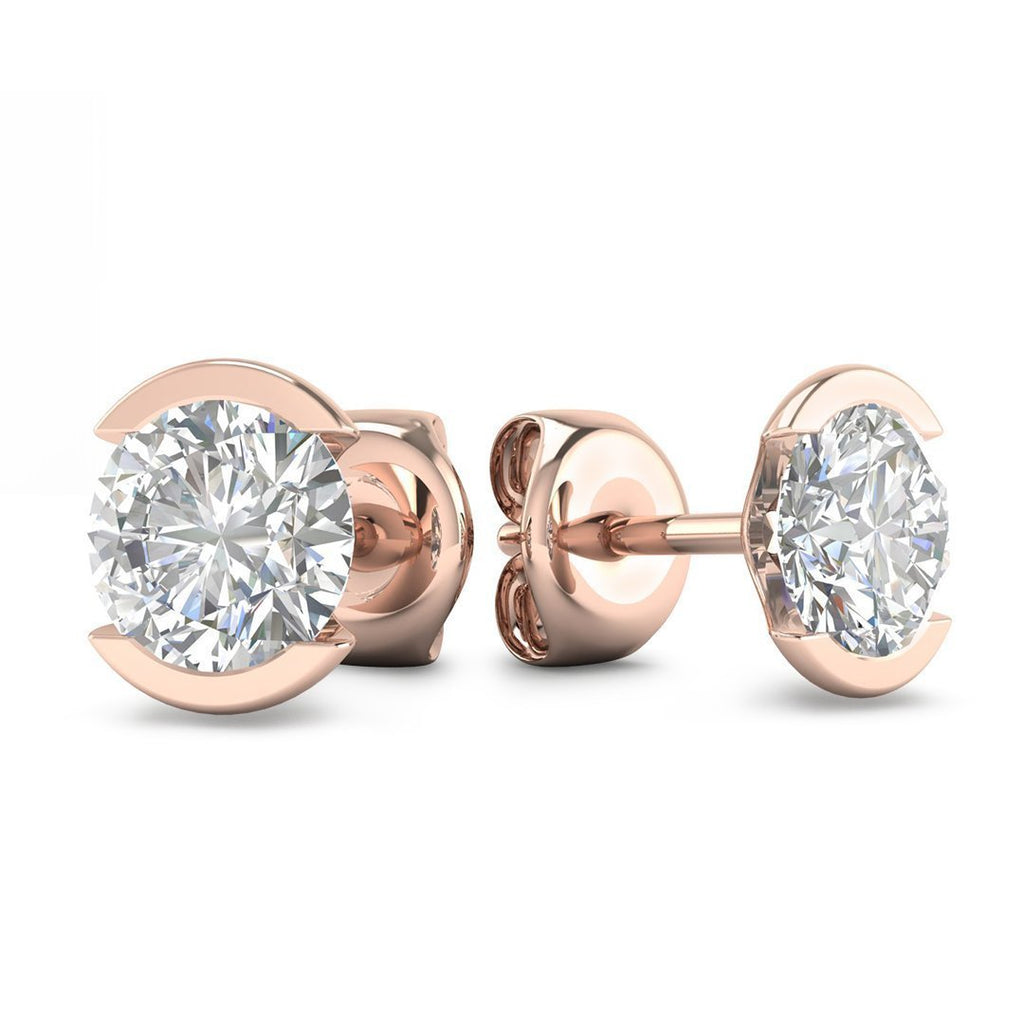 14k Bezel Set Rose Gold Diamond Stud Earrings - 0.50 carat D-SI1 Natural, Screw Backs - Custom Made