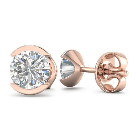 EAR-14-NAT-D-SI1-EX 14k Bezel Set Rose Gold Diamond Stud Earrings - 1.20 carat D-SI1 Natural, Butterfly Push-Backs
