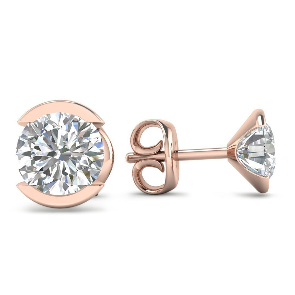 14k Bezel Set Rose Gold Diamond Stud Earrings - 1.40 carat D-SI1 Natural, Butterfly Push-Backs - Custom Made