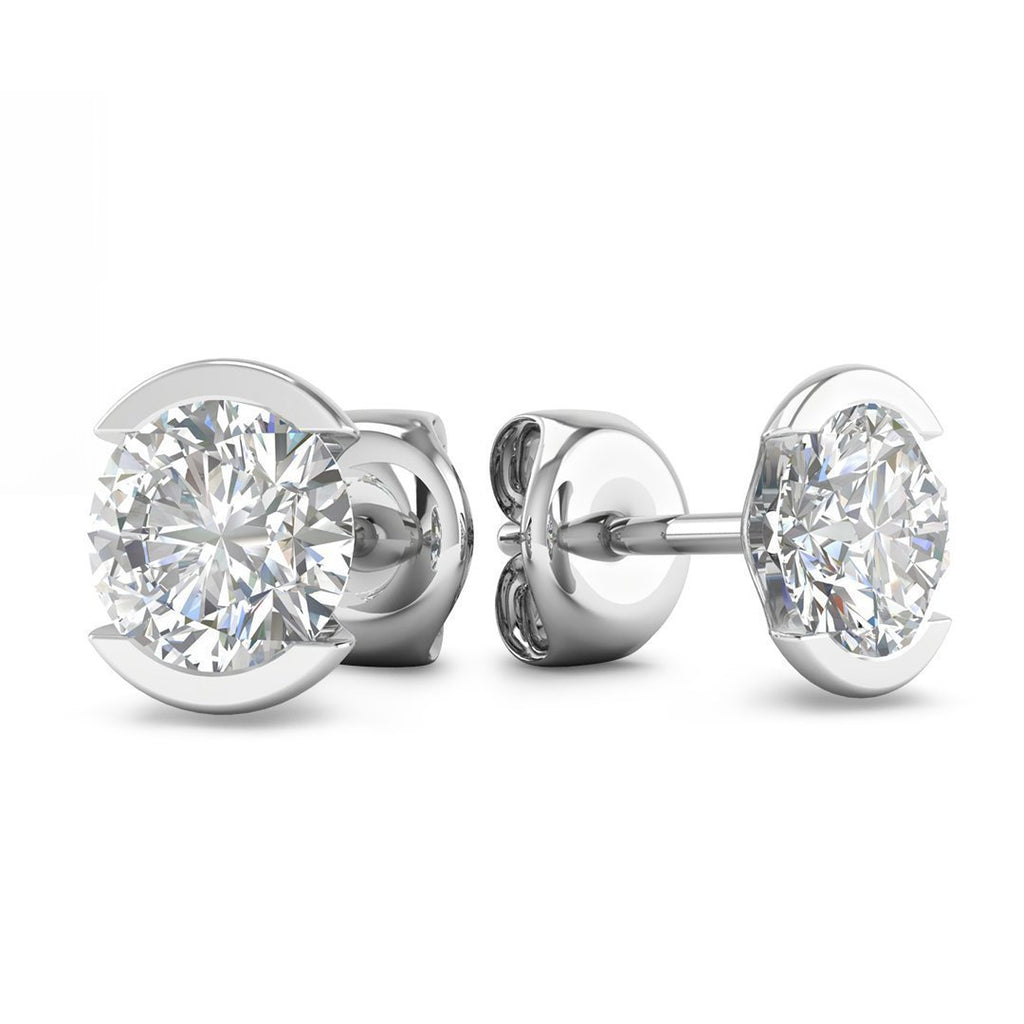 EAR-14-NAT-D-SI1-EX 14k Bezel Set White Gold Diamond Stud Earrings - 0.50 carat D-SI1 Natural, Screw Backs