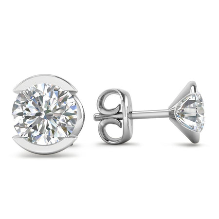 EAR-14-NAT-D-SI1-EX 14k Bezel Set White Gold Diamond Stud Earrings - 0.80 carat D-SI1 Natural, Butterfly Push-Backs