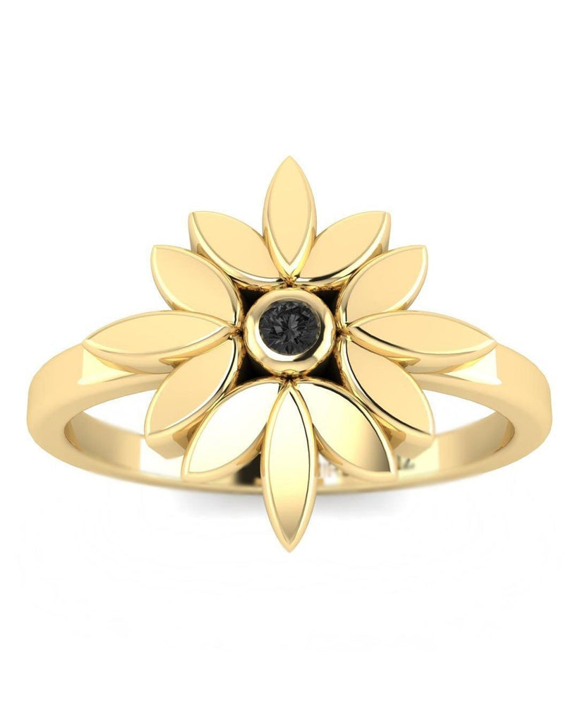 Hidden 14K Black Diamond Yellow Gold Promise Ring - Dainty Flower