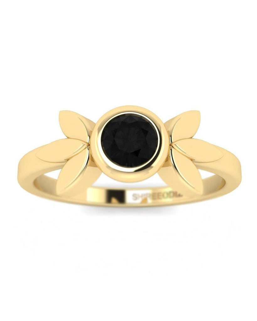 14K Black Diamond Yellow Gold Promise Rings - Vintage Flower - Custom Made