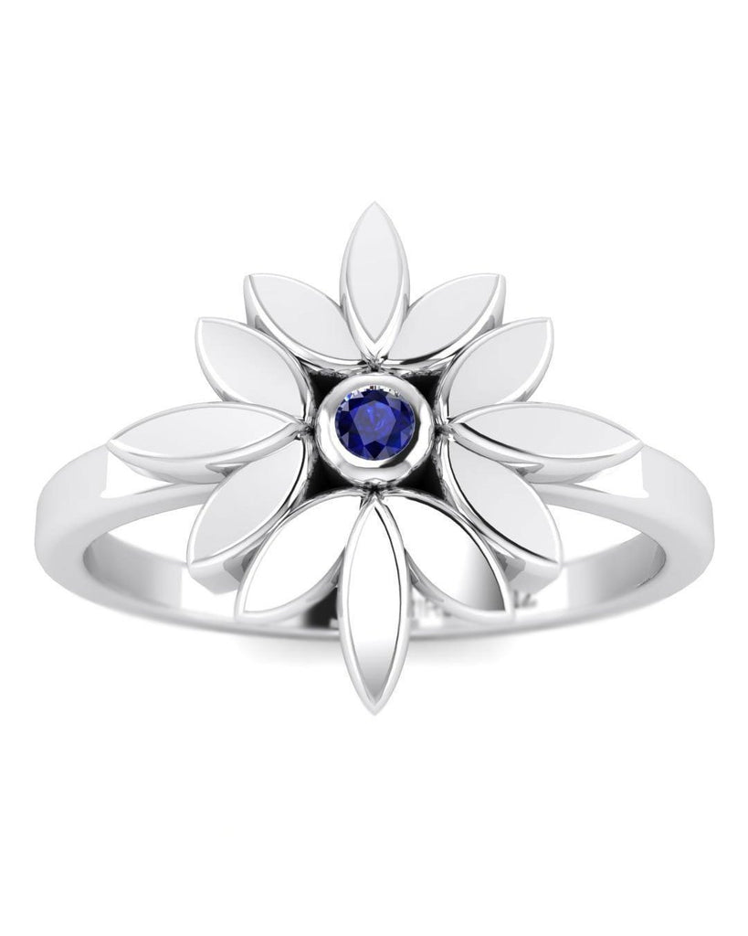 14K Blue Sapphire Gemstone White Gold Promise Ring - Custom Made