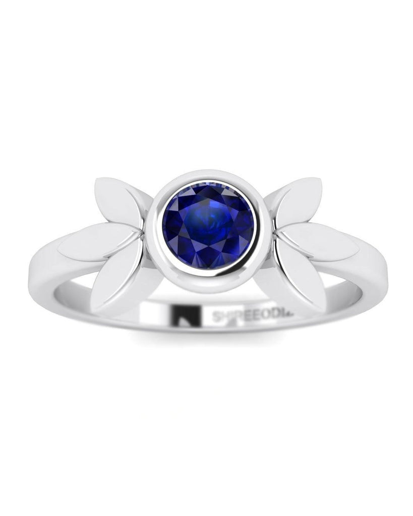 14K Blue Sapphire Gemstone White Gold Promise Rings - Vintage Flower - Custom Made
