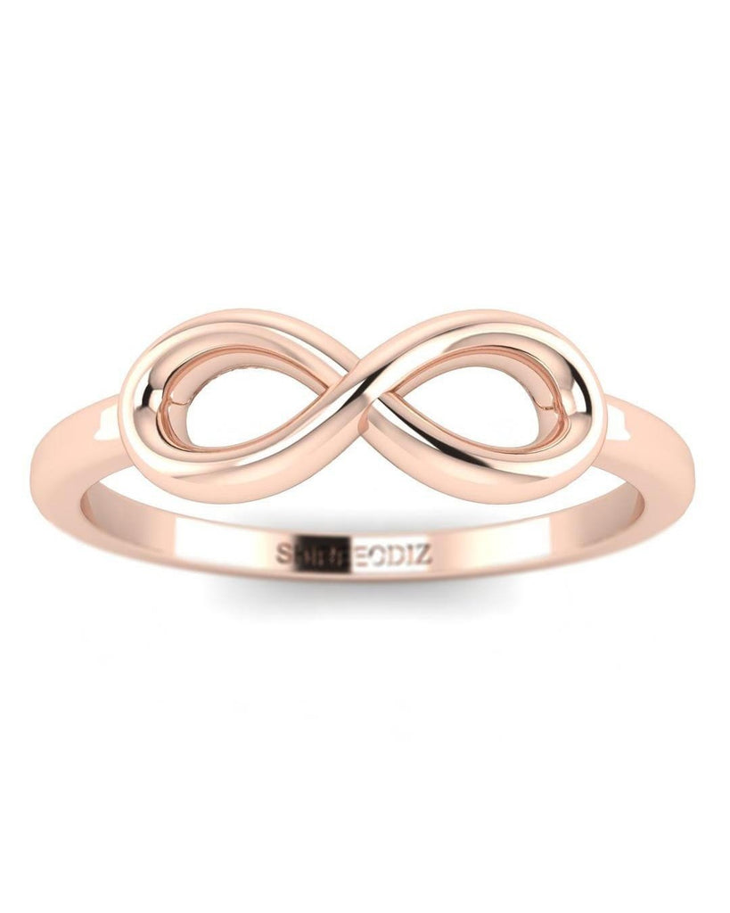 Valentines Gift For Her - 14K Cute Solid Rose Gold Infinity Ring - Custom Made