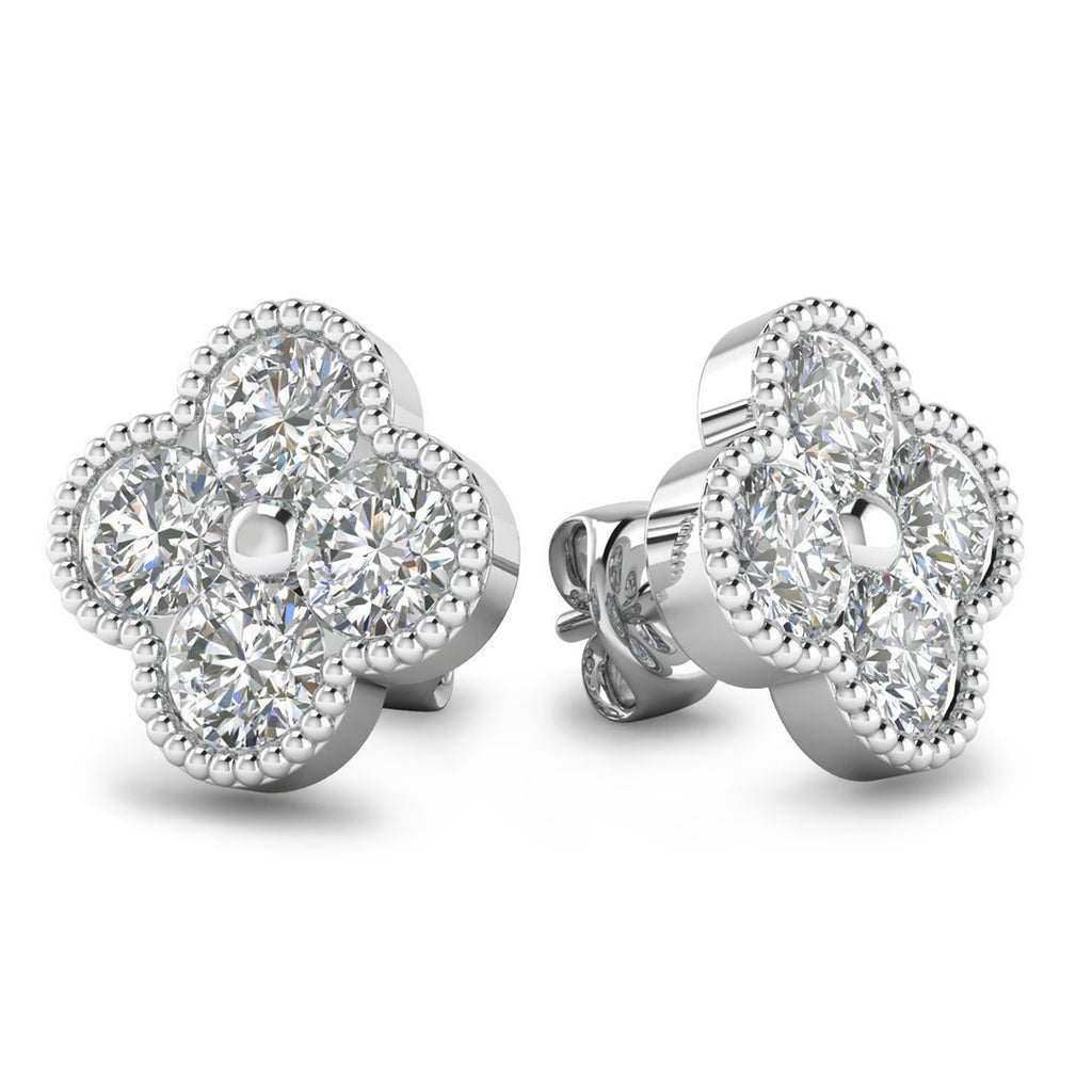 EAR-14-NAT-D-SI1-EX 14k Designer Clover White Gold Diamond Stud Earrings - 2.40 carat D-SI1 Natural, Screw Backs
