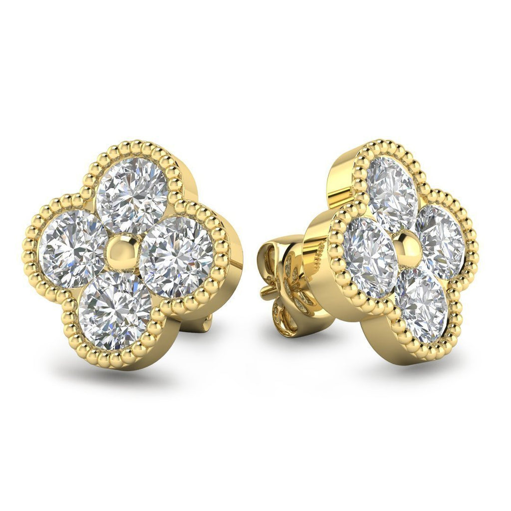 EAR-14-NAT-D-SI1-EX 14k Designer Clover Yellow Gold Diamond Stud Earrings - 1.20 carat D-SI1 Natural, Screw Backs