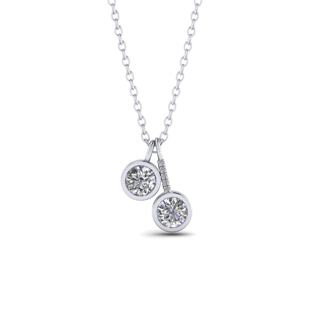 PEN-14 14k Designer Diamond White Gold Bezel Pendant Necklace - 0.60 carat  D-SI1 Natural