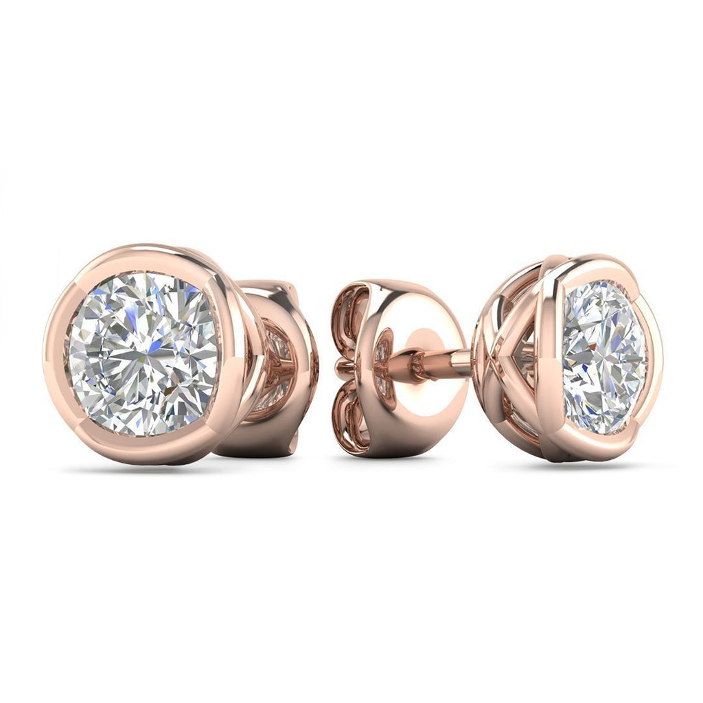 14k Designer Rose Gold Diamond Basket Stud Earrings - 0.50 carat D-SI1 Natural, Butterfly Push-Backs - Custom Made