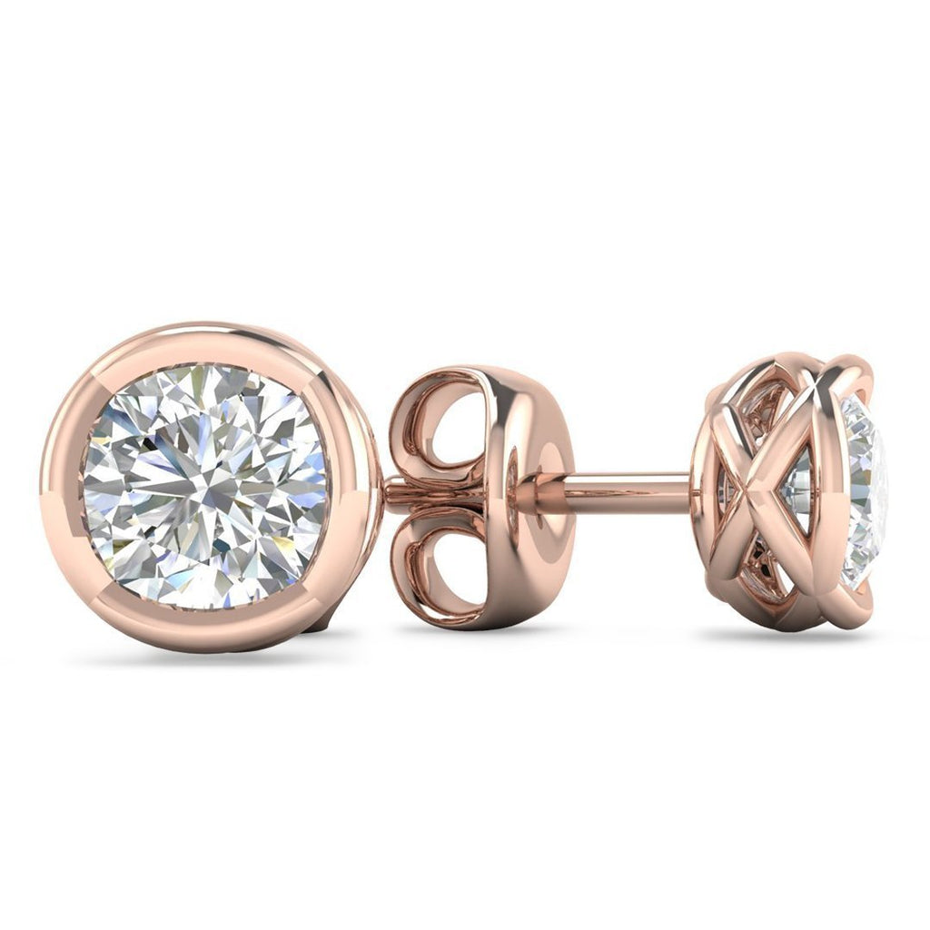 14k Designer Rose Gold Diamond Basket Stud Earrings - 1.20 carat D-SI1 Natural, Screw Backs - Custom Made