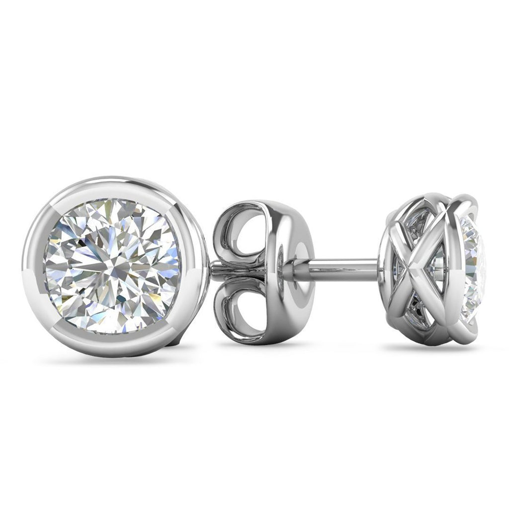 EAR-14-NAT-D-SI1-EX 14k Designer White Gold Diamond Basket Stud Earrings - 0.50 carat D-SI1 Natural, Screw Backs