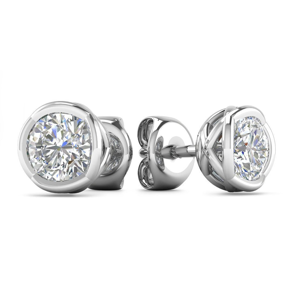 EAR-14-NAT-D-SI1-EX 14k Designer White Gold Diamond Basket Stud Earrings - 0.60 carat D-SI1 Natural, Screw Backs