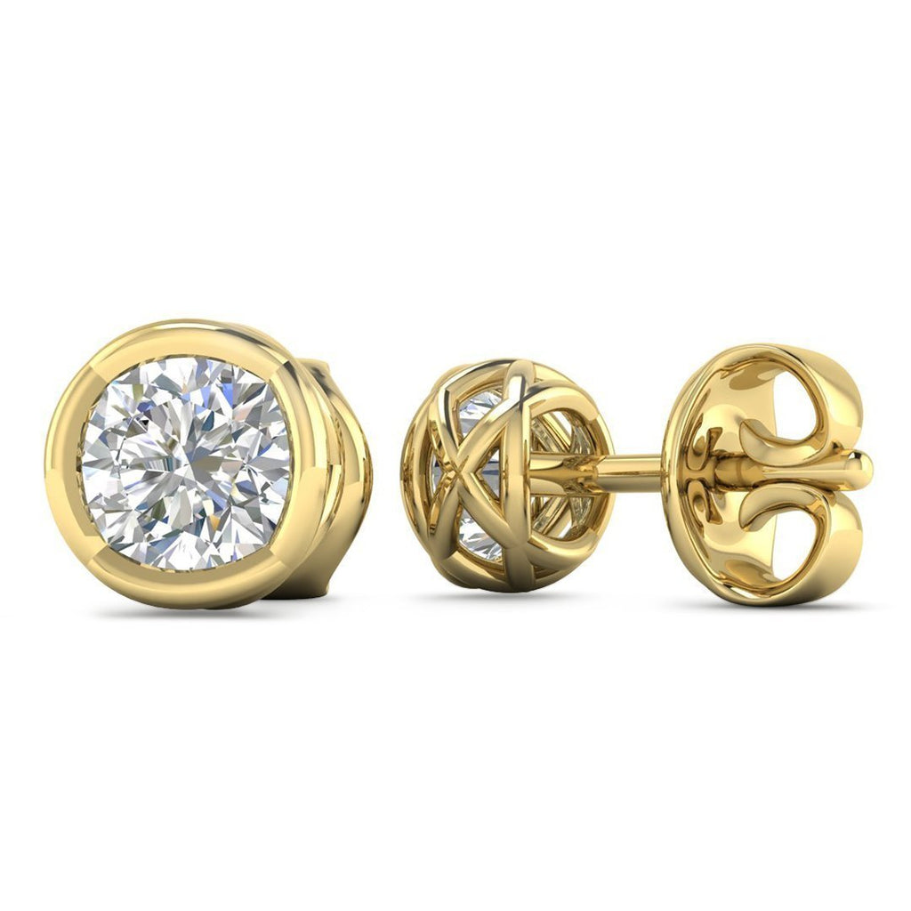 14k Designer Yellow Gold Diamond Basket Stud Earrings - 1.60 carat D-SI1 Natural, Butterfly Push-Backs - Custom Made