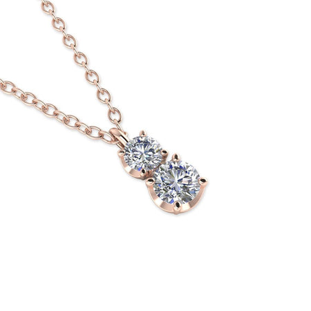 PEN-14 14k Diamond Rose Gold Drop Pendant Necklace - 0.45 carat  D-SI1 Natural