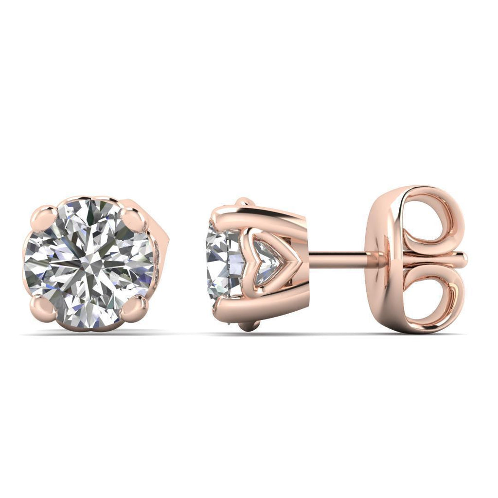 14k Heart Basket Rose Gold Diamond Stud Earrings - 0.50 carat D-SI1 Natural, Butterfly Push-Backs - Custom Made