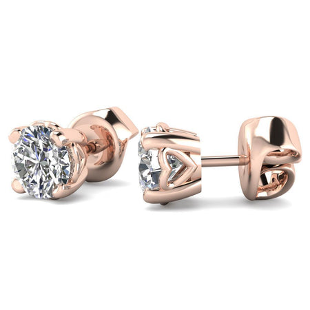 EAR-14-NAT-D-SI1-EX 14k Heart Basket Rose Gold Diamond Stud Earrings - 0.50 carat D-SI1 Natural, Butterfly Push-Backs