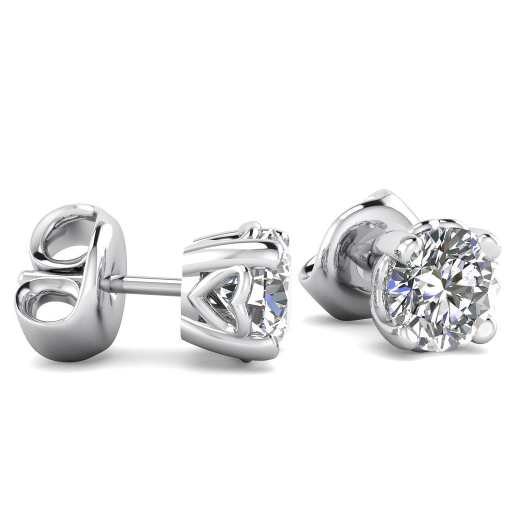 14k Heart Basket White Gold Diamond Stud Earrings - 0.40 carat D-SI1 Natural, Butterfly Push-Backs - Custom Made