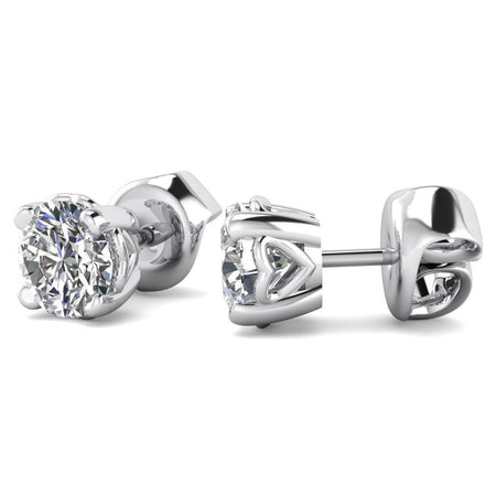 EAR-14-NAT-D-SI1-EX 14k Heart Basket White Gold Diamond Stud Earrings - 0.50 carat D-SI1 Natural, Screw Backs