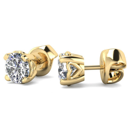 EAR-14-NAT-D-SI1-EX 14k Heart Basket Yellow Gold Diamond Stud Earrings - 0.40 carat D-SI1 Natural, Screw Backs