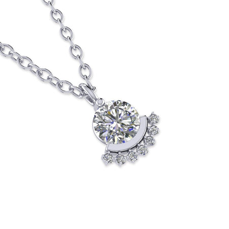 PEN-14 14k Modern White Gold Diamond Solitaire Pendant Necklace - 0.30 carat D-SI1 Natural