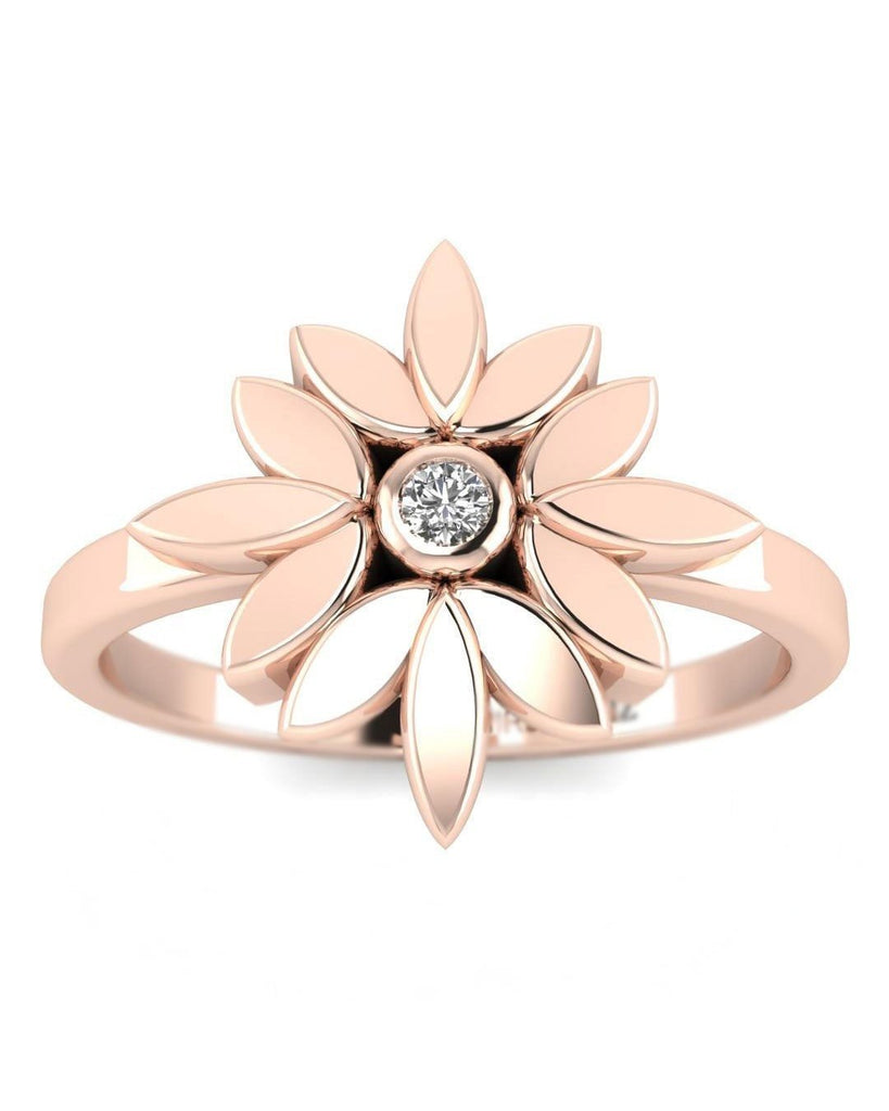 14K Natural Diamond Rose Gold Promise Ring - Dainty Flower - Custom Made