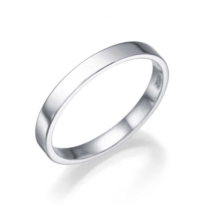 Wedding Rings 14K or 18K White Gold Mens Wedding Bands - 2.5mm Flat for Him