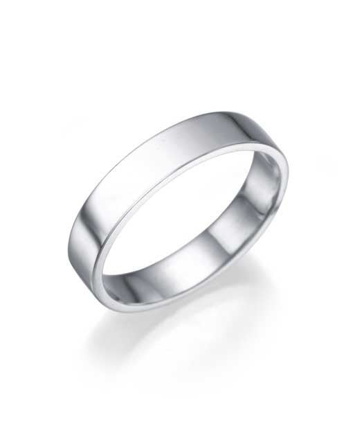 Wedding Rings 14K or 18K White Gold Wedding Ring - 3.9mm Flat Band for Women