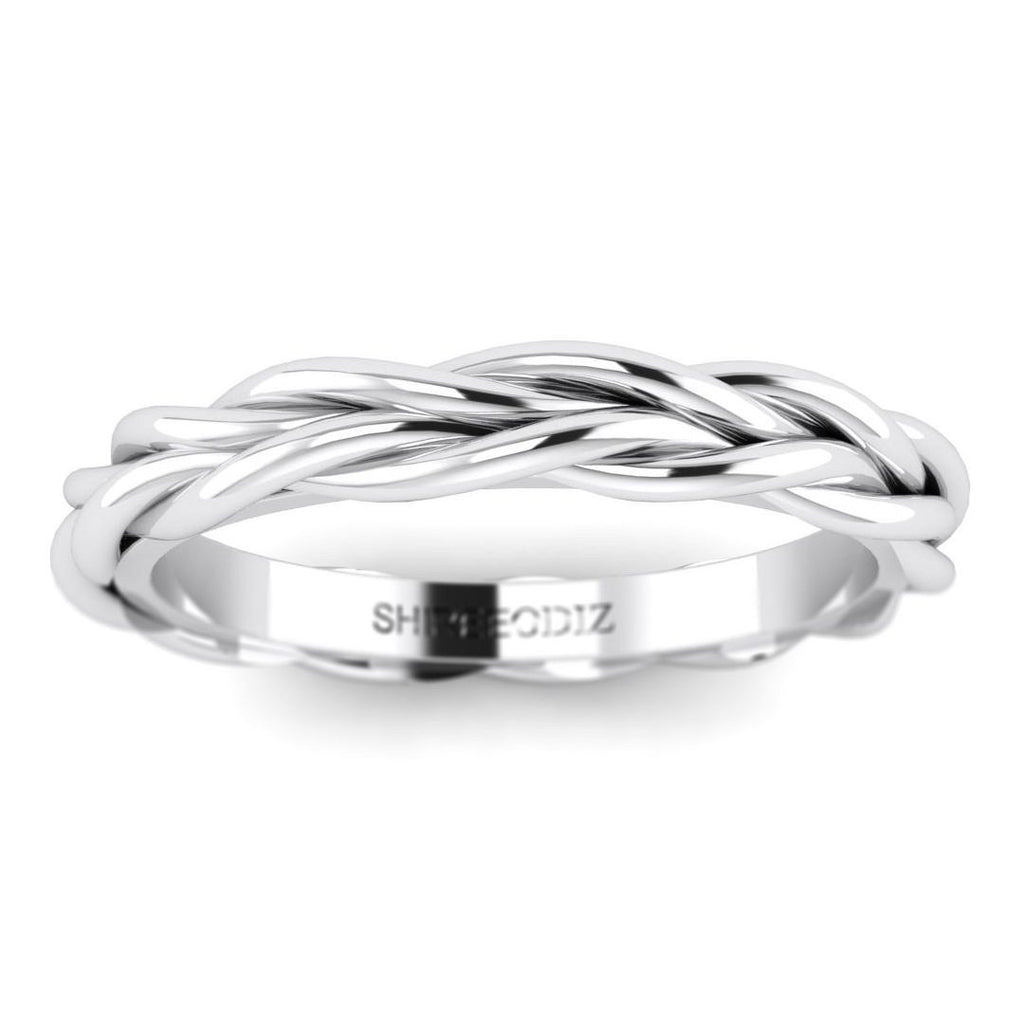 14K Plaited Style Solid White Gold Ring For Women - Custom Made