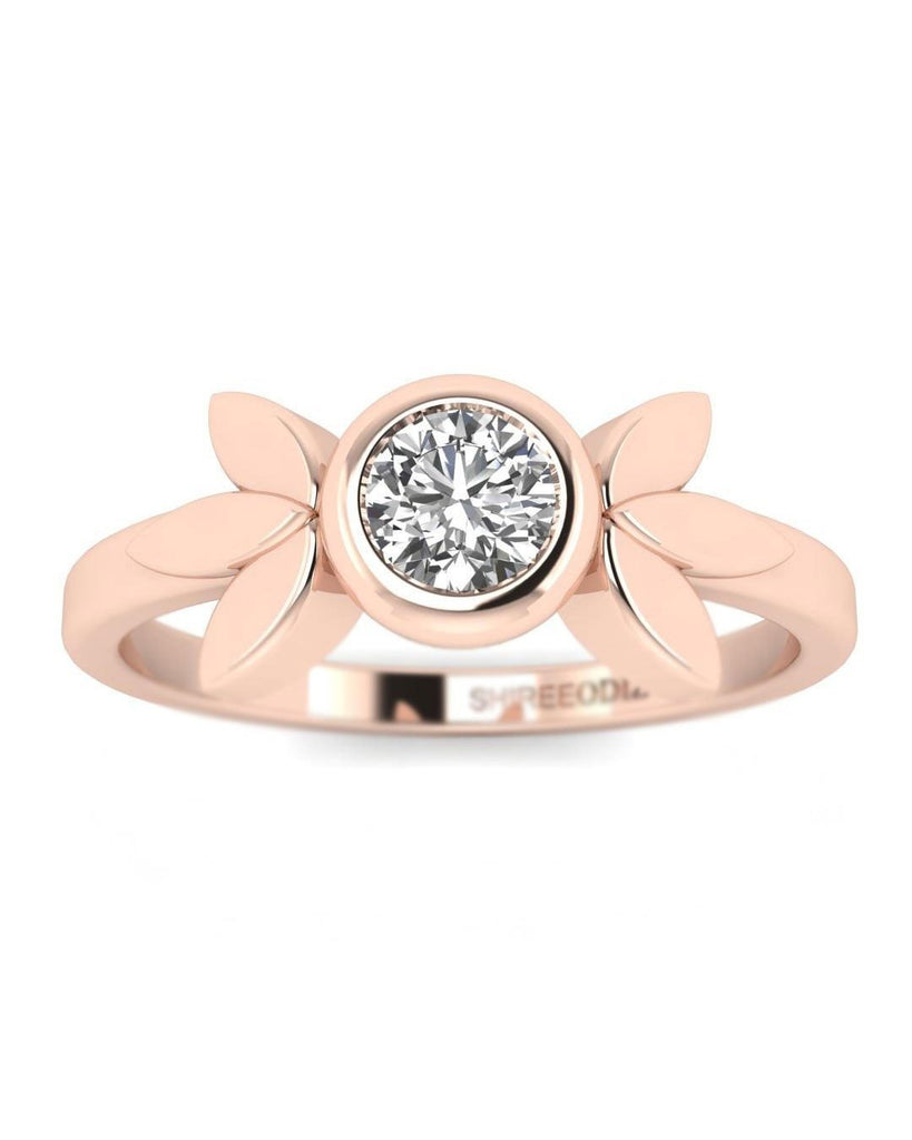 14K Real Diamond Rose Gold Promise Rings - Vintage Flower - Custom Made