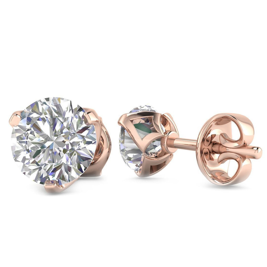 EAR-14-NAT-D-SI1-EX 14k Rose Gold 3-Prong Designer Diamond Stud Earrings - 0.50 carat D-SI1 Natural, Screw Backs