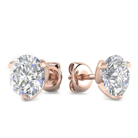 EAR-14-NAT-D-SI1-EX 14k Rose Gold 3-Prong Designer Diamond Stud Earrings - 0.60 carat D-SI1 Natural, Screw Backs