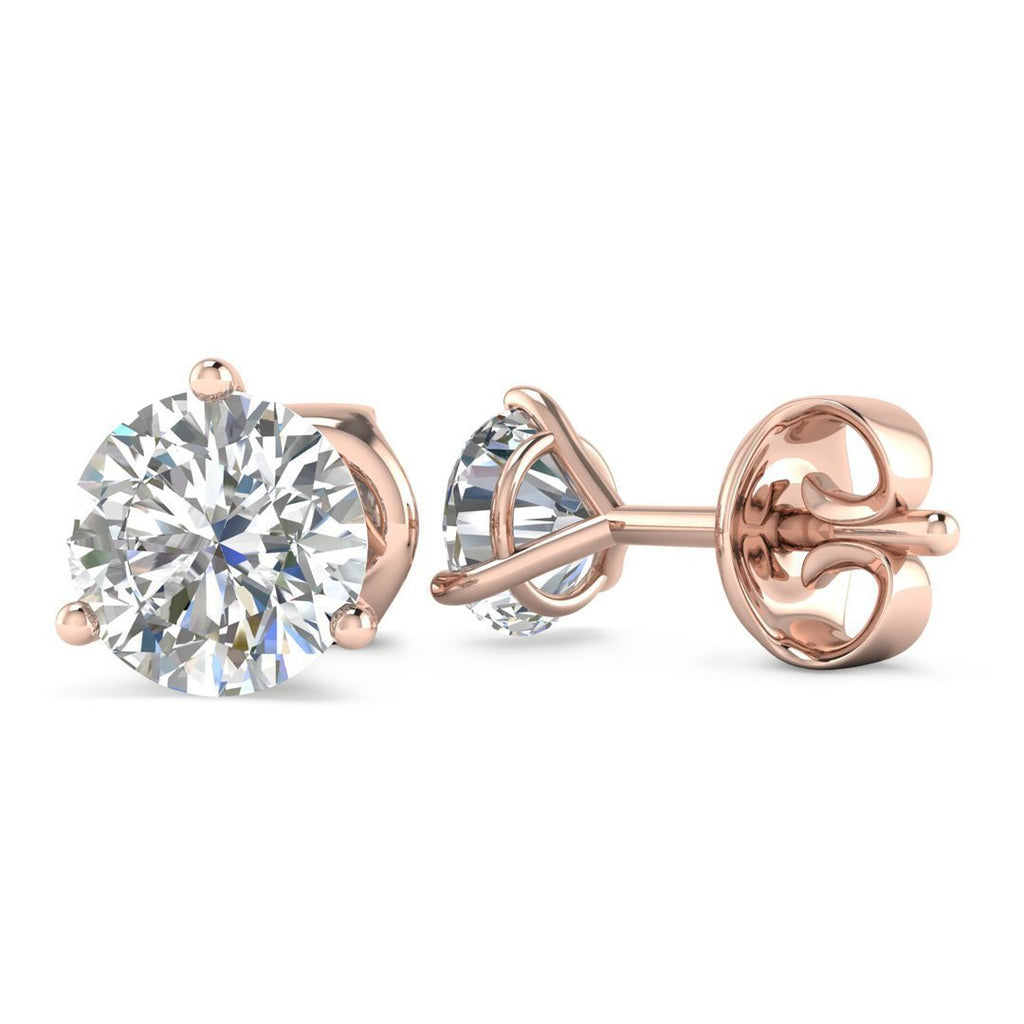 EAR-14-NAT-D-SI1-EX 14k Rose Gold 3-Prong Martini Diamond Stud Earrings - 1.00 carat D-SI1 Natural, Screw Backs