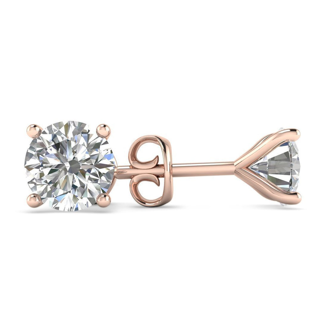 EAR-14-NAT-D-SI1-EX 14k Rose Gold 4-Prong Martini Diamond Stud Earrings - 0.50 carat D-SI1 Natural, Screw Backs