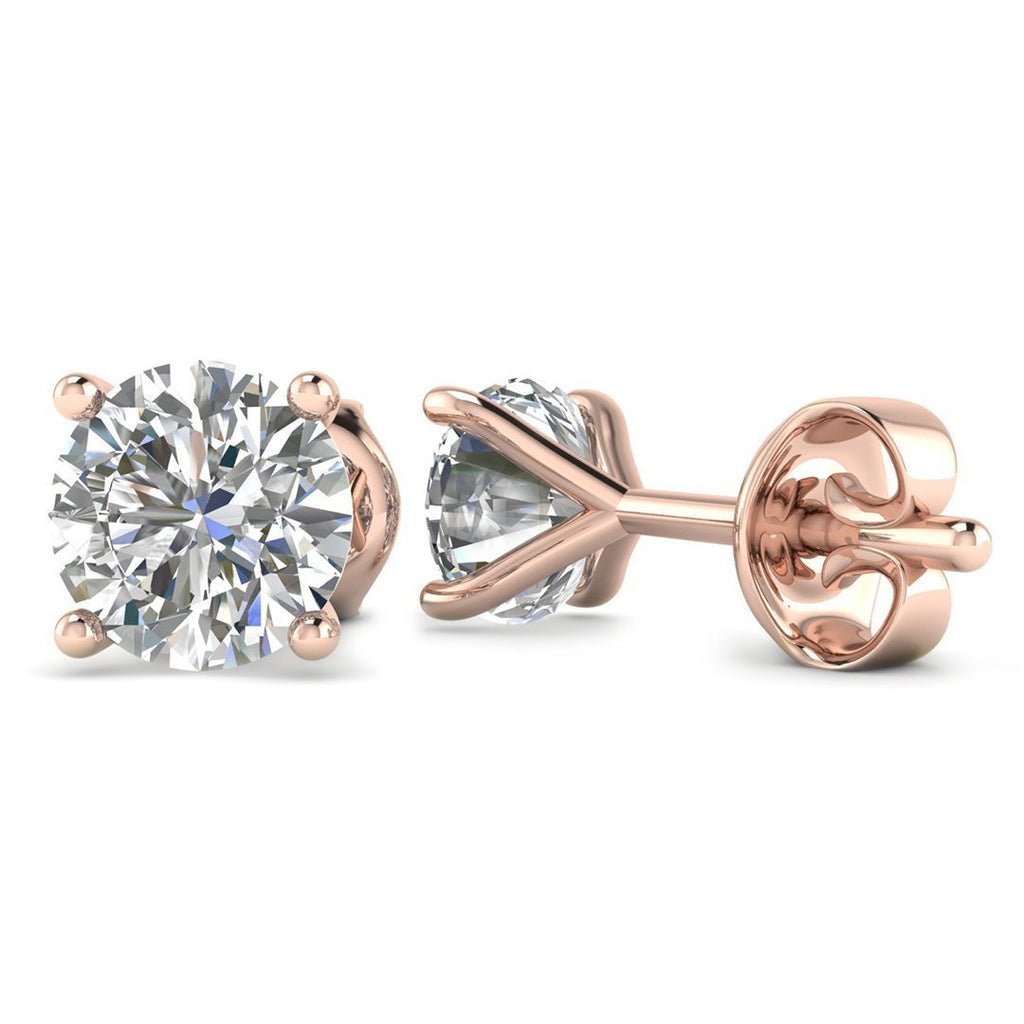 14k Rose Gold 4-Prong Martini Diamond Stud Earrings - 0.60 carat D-SI1 Natural, Butterfly Push-Backs - Custom Made