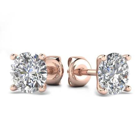 EAR-14-NAT-D-SI1-EX 14k Rose Gold 4-Prong Martini Diamond Stud Earrings - 0.60 carat D-SI1 Natural, Screw Backs
