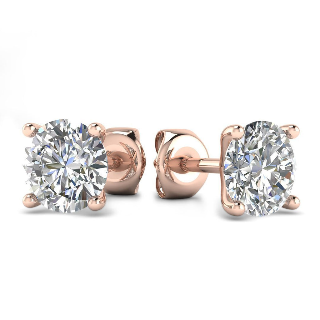 14k Rose Gold 4-Prong Martini Diamond Stud Earrings - 1.40 carat D-SI1 Natural, Butterfly Push-Backs - Custom Made