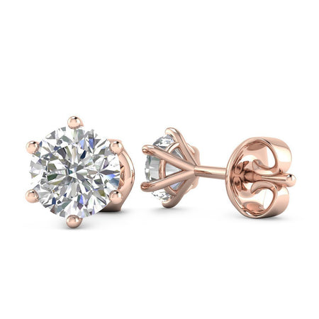 EAR-14-NAT-D-SI1-EX 14k Rose Gold 6-Prong Classic Diamond Stud Earrings - 0.60 carat D-SI1 Natural, Screw Backs