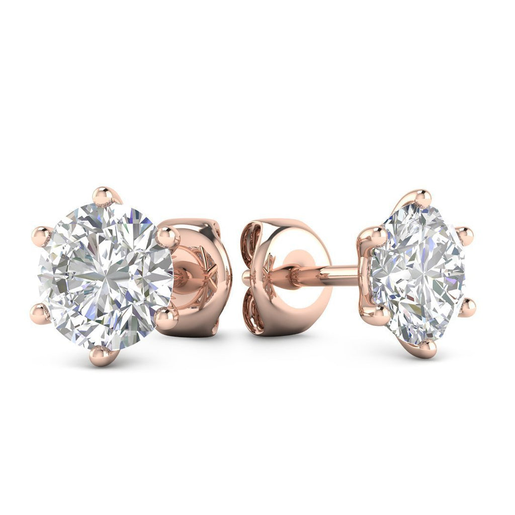14k Rose Gold 6-Prong Classic Diamond Stud Earrings - 0.80 carat D-SI1 Natural, Screw Backs - Custom Made