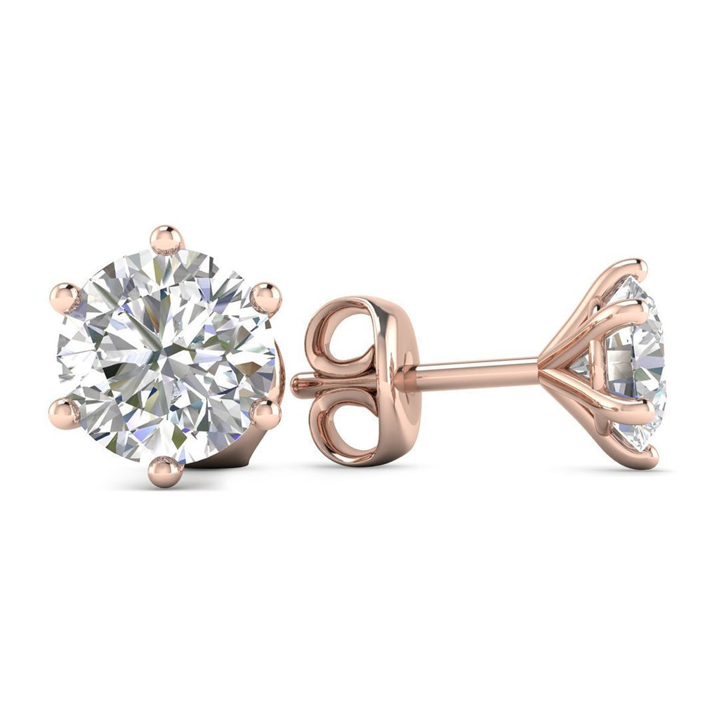 14k Rose Gold 6-Prong Classic Diamond Stud Earrings - 1.00 carat D-SI1 Natural, Butterfly Push-Backs - Custom Made