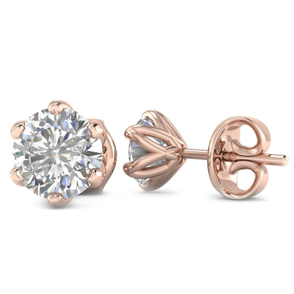 14k Rose Gold 6-Prong Unique Diamond Stud Earrings - 0.60 carat D-SI1 Natural, Screw Backs - Custom Made