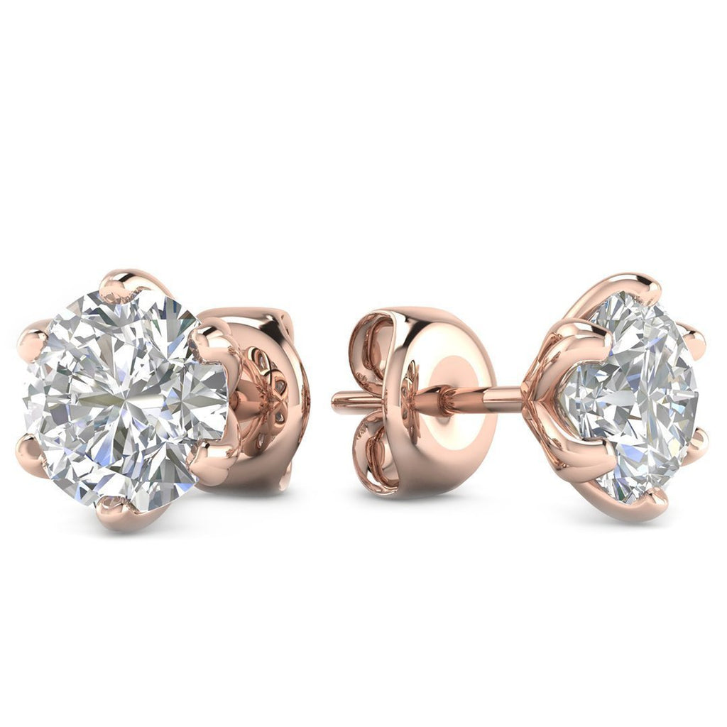 14k Rose Gold 6-Prong Unique Diamond Stud Earrings - 1.00 carat D-SI1 Natural, Butterfly Push-Backs - Custom Made