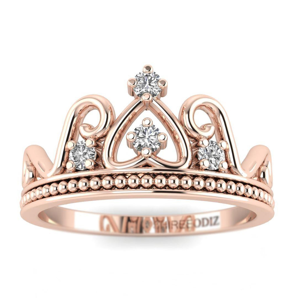 14K Rose Gold Antique Crown Promise Ring - Custom Made