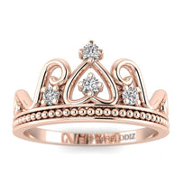 Hidden 14K Rose Gold Antique Crown Promise Ring