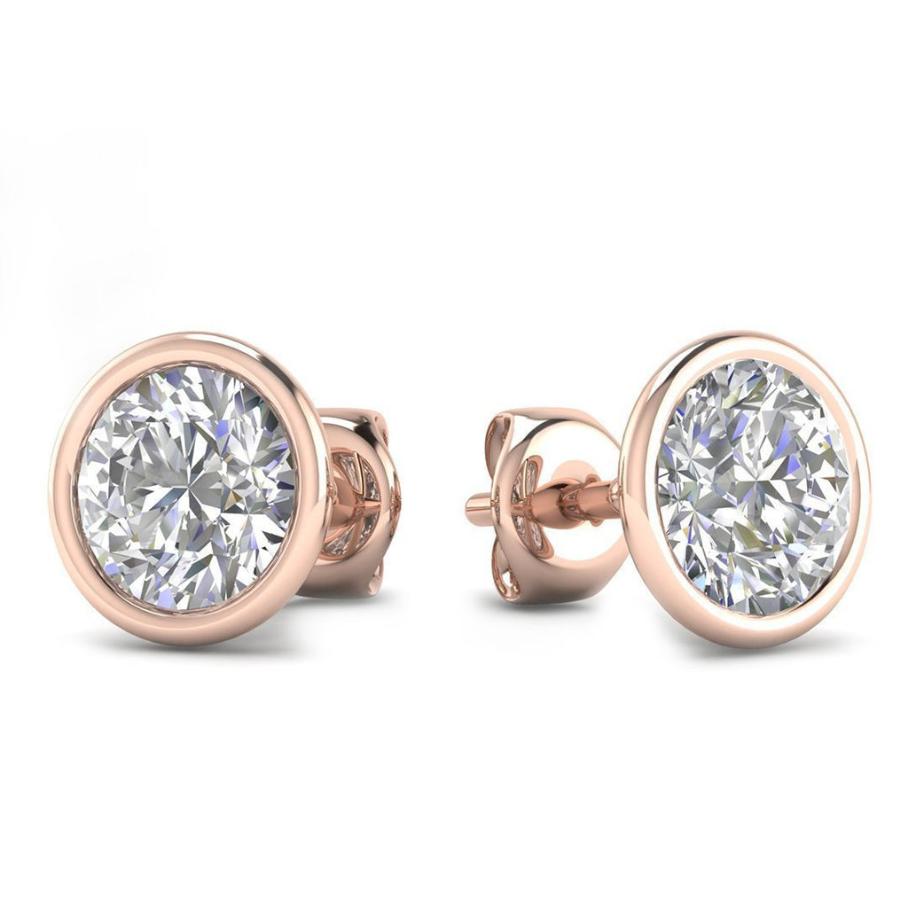 14k Rose Gold Bezel Set Diamond Stud Earrings - 1.80 carat D-SI1 Natural, Screw Backs - Custom Made